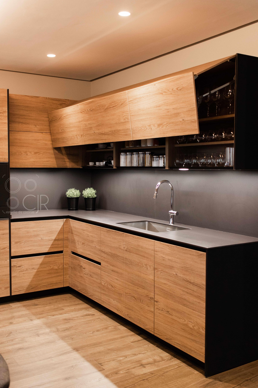 muebles de cocina madera y negro